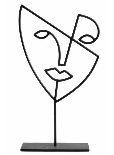 3D arc dekoráció, fekete
