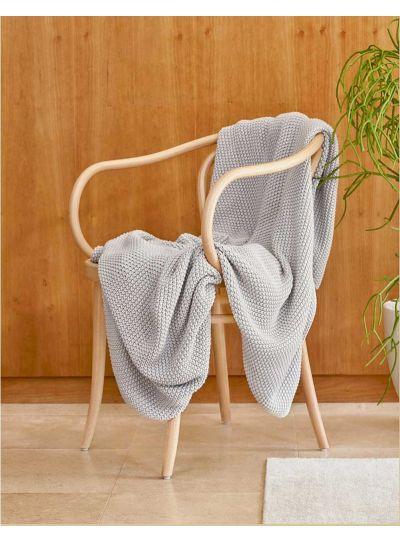 Nordic knit pléd, ezüst