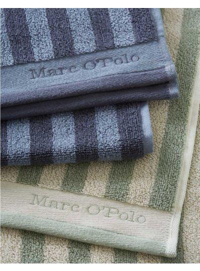 Classic Stripe törölköző, zöld/törtfehér
