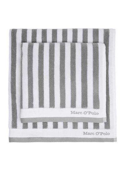 Classic Stripe törölköző, szürke/fehér