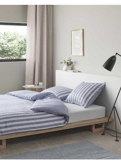 Classic Stripe ágynemű szett, pasztellkék/fehér