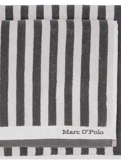 Classic Stripe törölköző, antracit/ezüst