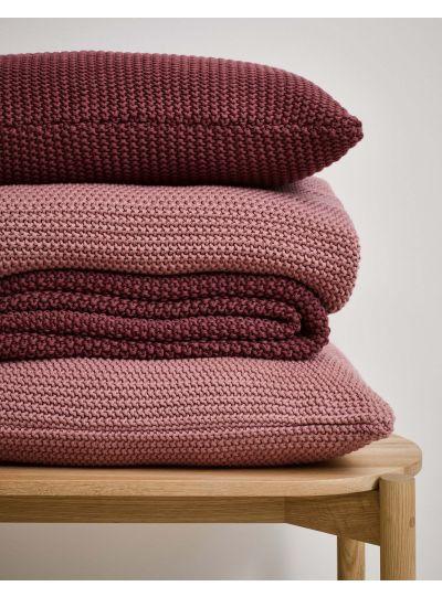 Nordic knit Négyzetalakú díszpárna, Hamvas rózsaszín