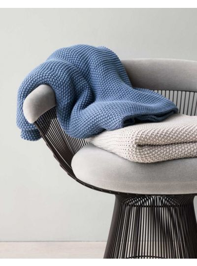 Nordic knit pléd, füst kék