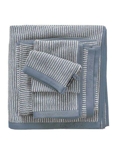 Timeless Tone Stripe törölköző, füstkék/törtfehér